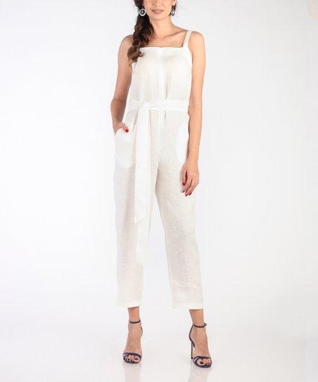 ee89735f8bd6 Carla by Rozarancio White Sleeveless Linen Jumpsuit - Women
