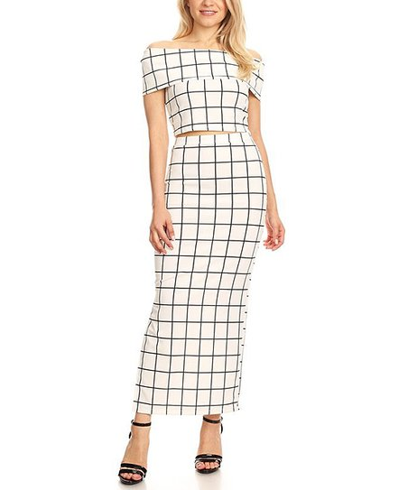 c7bc636ae14 love this product White & Black Off-Shoulder Top & Pencil Maxi Skirt Set -  Women