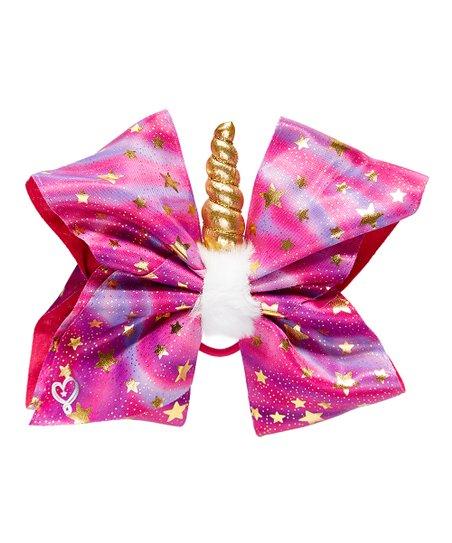Fantasia JoJo Siwa Pink   Gold Unicorn Star Bow Hair Tie  290e6fc809d