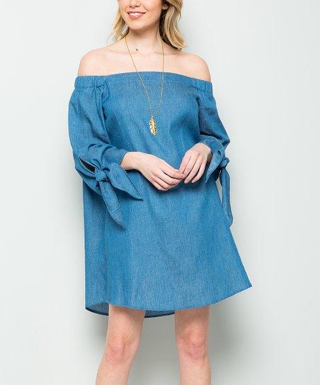 ebaa59740dd51 Cherry On Boutique Denim Tie-Sleeve Off-Shoulder Dress - Women | Zulily