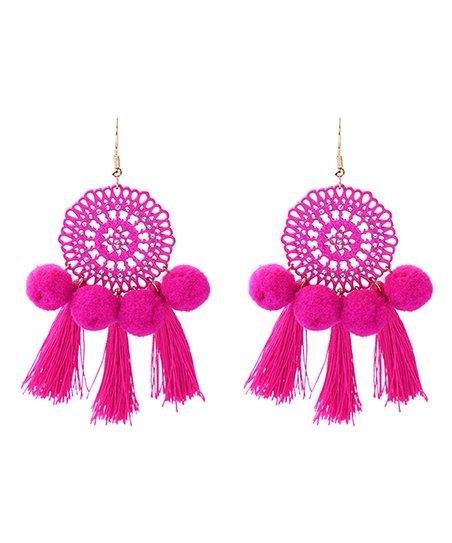 73ea91fc1cf731 Ella & Elly Pink Pom Pom Tassel Drop Earrings   Zulily