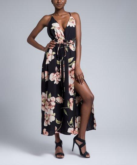 Skoonheid Black Apricot Floral Open Back Maxi Dress Women Zulily
