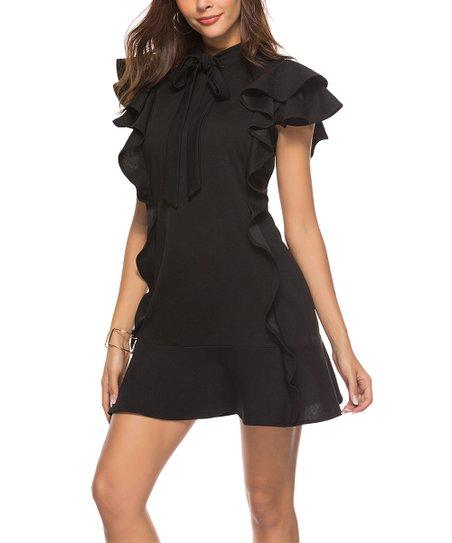 Skoonheid Black Side Ruffle Tie Neck Flutter Sleeve Dress Women