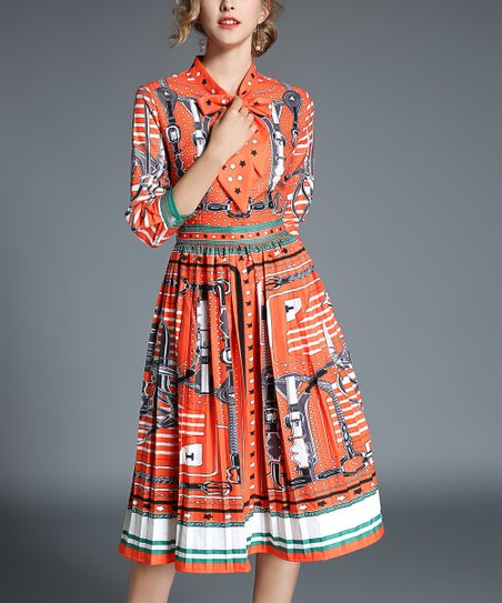 ee16ee52ab love this product Orange Bow-Neck Scarf Print Dress - Women