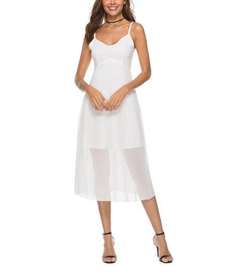 0a15a17c887b47 Nisha Outi White Low-Back Layered Midi Dress - Women | Zulily