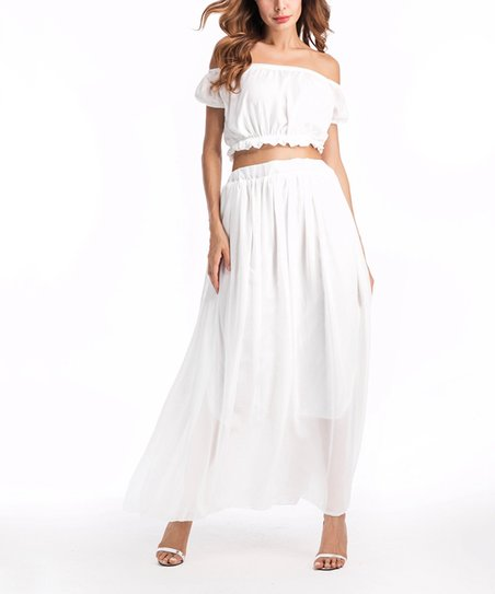 e30318ed773 Nisha Outi White Off-Shoulder Top & White Maxi Skirt - Women | Zulily