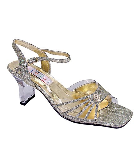 ab824769c2dabc Floral Gold Metallic Strappy Fan-Accent Sandal - Women