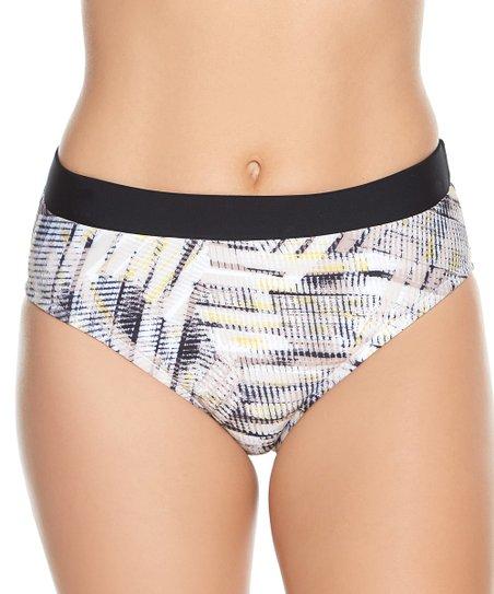 cba8d2d953 Beach Diva White & Black High-Waist Bikini Bottoms - Women | Zulily