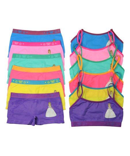 love this product Purple   Yellow Glitter Princess Training Bra   Underwear  Set - Girls b1fda6127