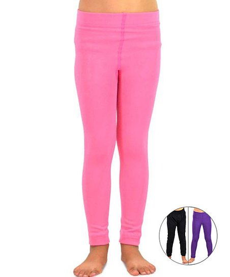 4a3a41cd5369ea love this product Pink & Purple Fleece-Lined Legging Set - Infant & Girls