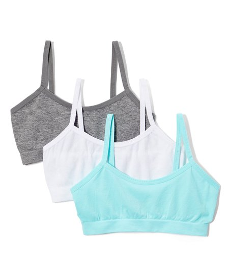 René Rofé Girl Charcoal Aqua Zoey Seamless Bralette Set Girls
