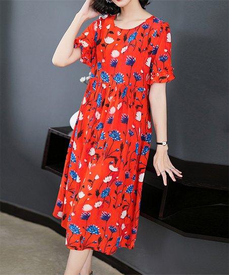 2ff610aa0b0f Charlie Charlie Charlotte Red Floral Empire-Waist Dress - Women | Zulily