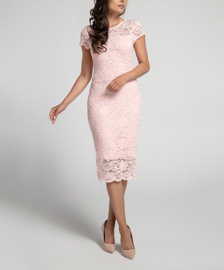 e8fcd7663bce Foggy Light Pink Lace Midi Dress - Women | Zulily