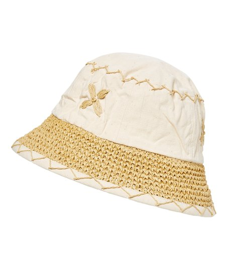 ad7f1b91 Boardwalk Style Natural & White Floral Embroidered Bucket Hat | Zulily