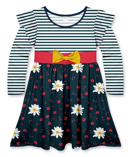 76c0c5f2beda Penelope Plumm Dark Green Floral Stripe Bow Flutter-Sleeve Dress ...