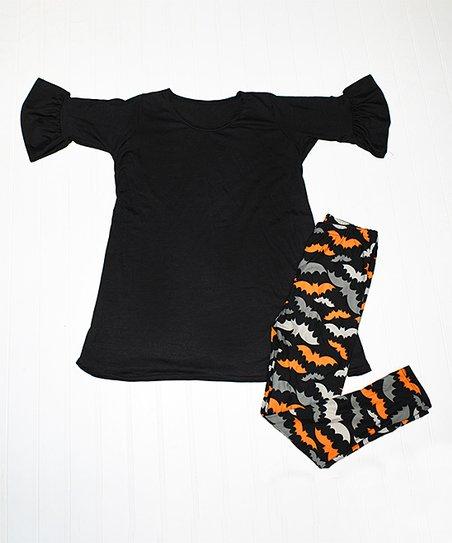 c9831cf581910 love this product Black Bell-Sleeve Tunic & Bats Leggings - Toddler & Girls