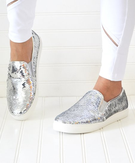 Mata Shoes Silver Sequin Layla Slip-On