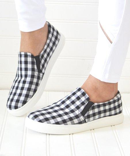 Mata Shoes Black Gingham Layla Slip-On