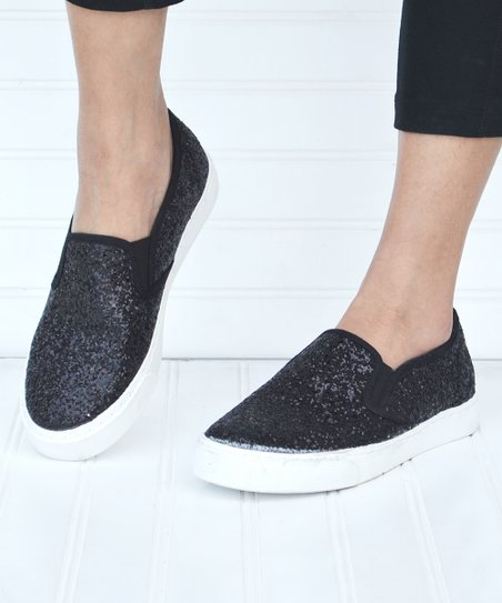 Mata Shoes Black Glitter Slip-On Sneaker - Women  e17c273ab