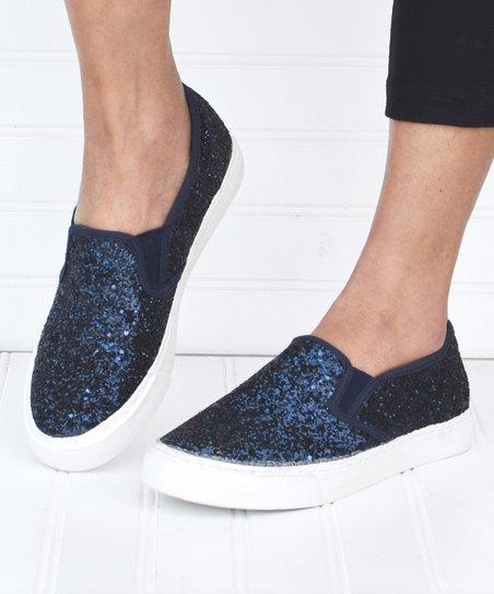Mata Shoes Navy Glitter Slip-On Sneaker