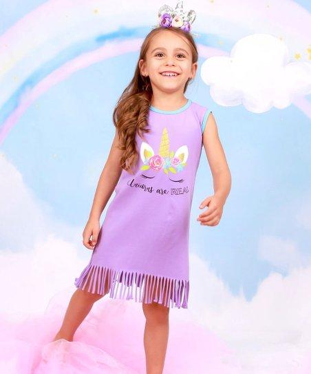 878b105ef459a love this product Lavender 'Unicorns are Real' Fringe-Hem Sleeveless Dress  - Toddler