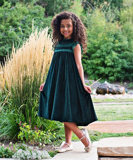 ccd688838bac love this product Emerald Green Velvet Magnolia Shift Dress - Toddler