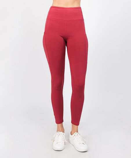 54cf2f9e9ecb3 Pink Mint Brick Red High-Waist Tech Pocket Leggings - Women   Zulily