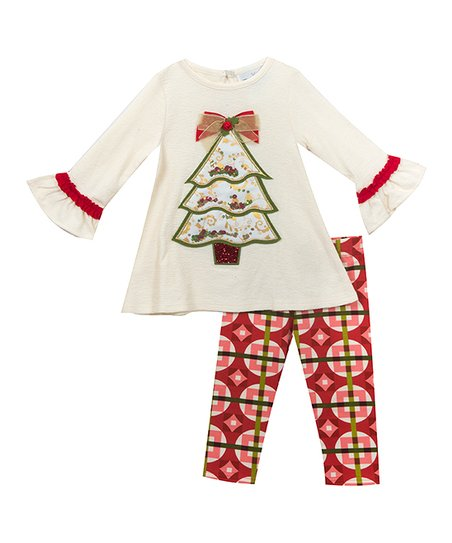 8a82b0d4bc041d Rare Editions Ivory Christmas Tree Top & Red Leggings - Girls | Zulily