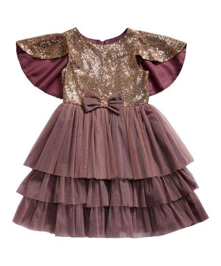 df8bd5d1fb6 Sweet Heart Rose Mauve Tiered Skirt Cap-Sleve Dress - Girls