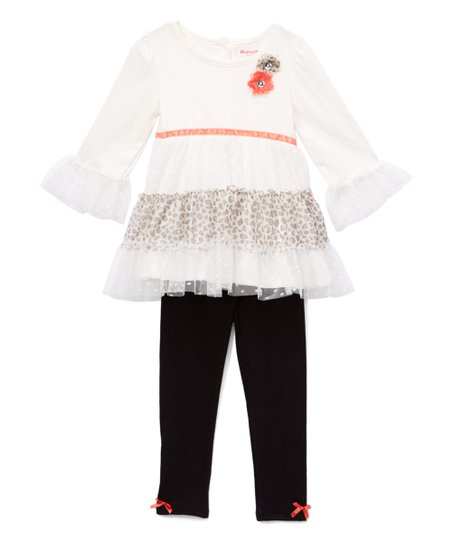 1f455662e14986 love this product Off-White Cheetah Print Ruffle Mesh Top & Leggings -  Infant