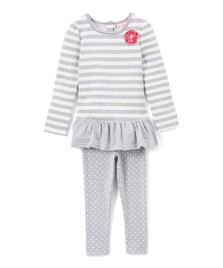 a327af30308a0 Childrens Apparel Network Gray & White Stripe Tunic & Legging Set ...
