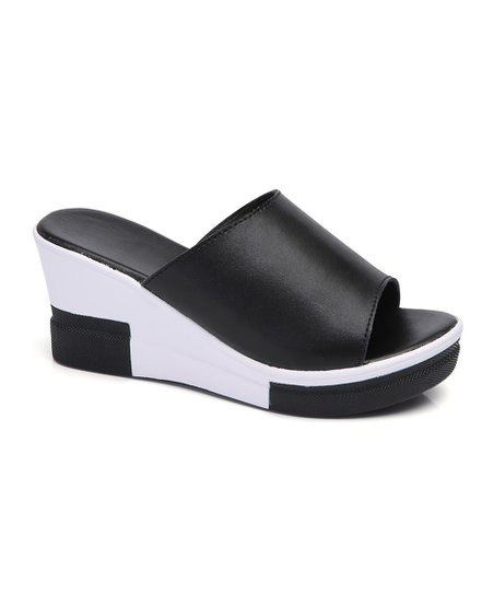 ad01ac9d9af Miracle Black   White Color Block Leather Wedge Sandal - Women