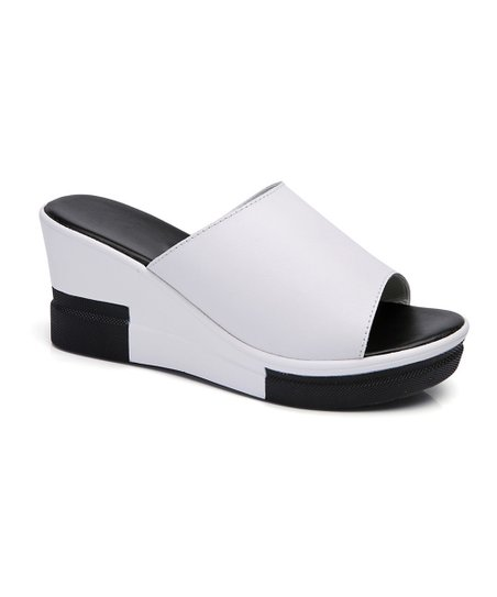 407e57f71a7 love this product White   Black Color Block Leather Wedge Sandal - Women