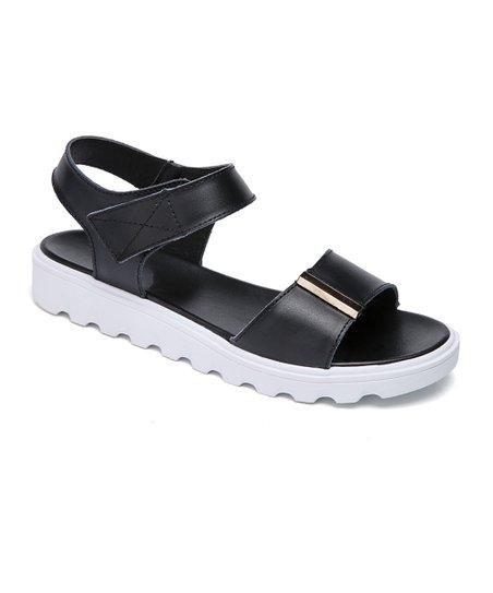 ff6e53c1a1a Miracle Black   White Leather Platform Sandal - Women