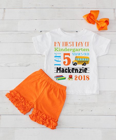 ea8a73f08e06 love this product White & Orange 'First Day of Kindergarten' Personalized  Shorts Set - Toddler & Girls
