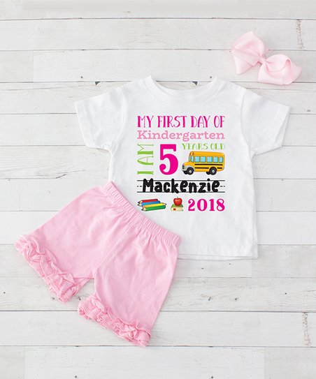 29335fd9f828 love this product White & Pink 'First Day of Kindergarten' Personalized  Shorts Set - Toddler & Girls