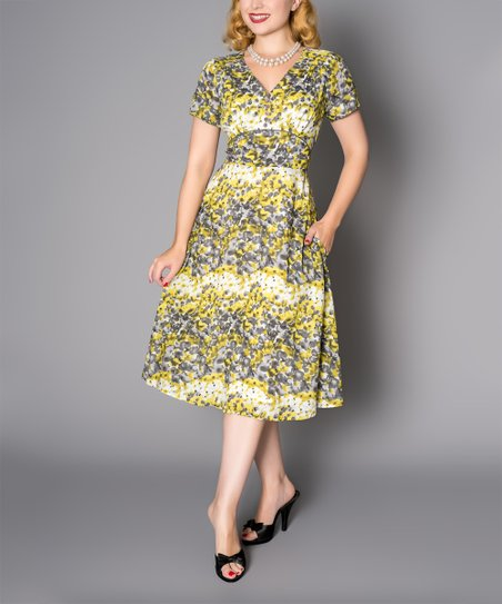 a860f4f6ace love this product Yellow Floral Midi Dress - Women
