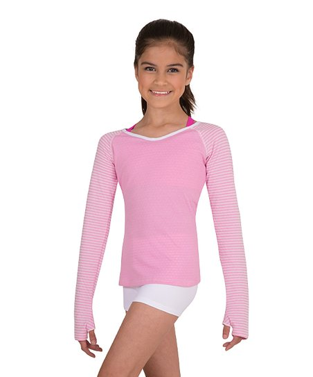 b9ee29bd9a042 Body Wrappers Light Pink & White Long-Sleeve Pullover - Girls | Zulily