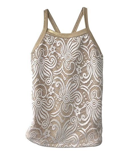 447535a16371dd love this product Nude   White Lace Print Tank Top - Toddler   Girls