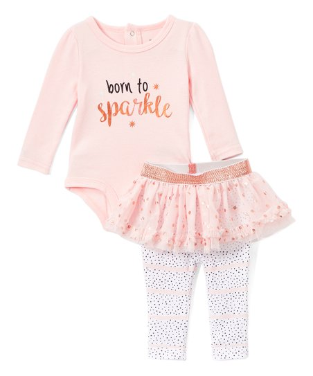 689ade1fd44914 love this product Peach & White Dot 'Born to Sparkle' Tutu Skirted Leggings  Set - Infant
