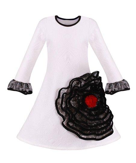 0e6b6ef02 Mia Belle Girls White   Black Flower-Appliqe Bell-Sleeve A-Line ...