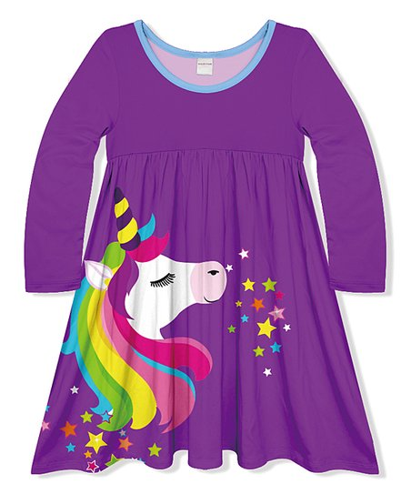 9d9ed417ef37 Penelope Plumm Purple Unicorn A-Line Dress - Girls | Zulily