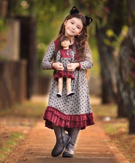 cd462e53f59d love this product Khaki Beige   Burgundy Polka Dot Amber Dress   18   Doll  Dress - Girls