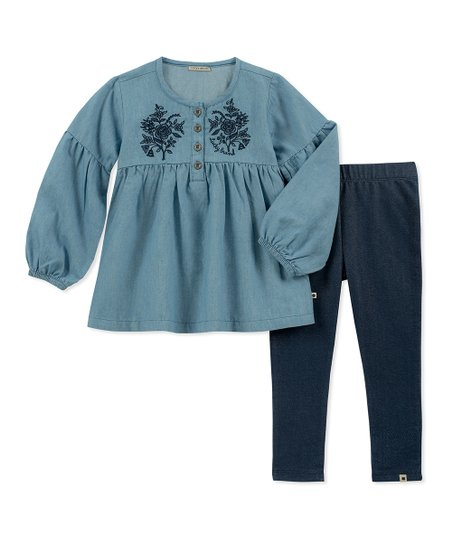 9fc6890f7 Lucky Brand Blue Embroidered Tunic   Navy Leggings - Toddler