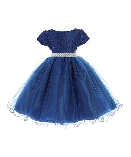 ebcf0126c25 Ellie Kids Royal Blue Pearl-Belt Fit & Flare Dress - Girls | Zulily