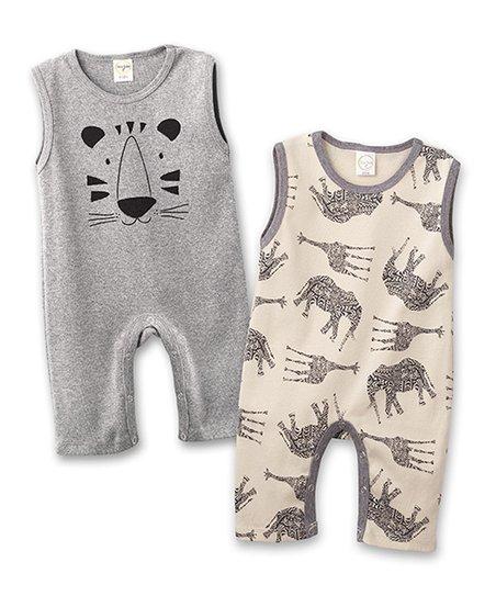 70293eb0e80 Ginger Giraffe   Elephant   Heather Gray Tiger Face Sleeveless Romper Set -  Infant