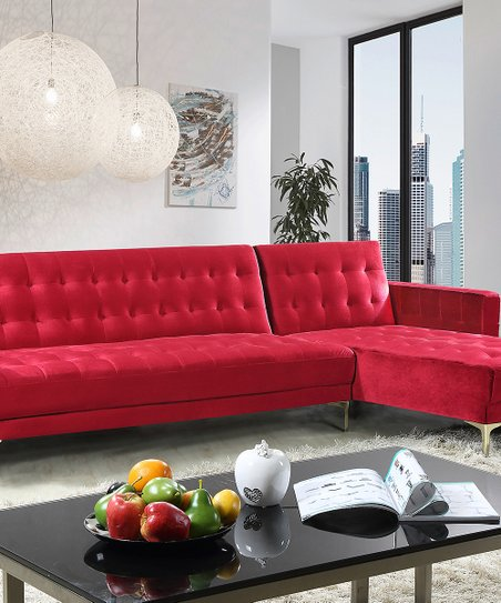 Red Convertible Sectional Sofa   Zulily