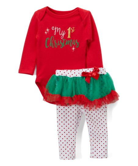 60a7bc87b76 love this product Red   Green  My 1st Christmas  Bodysuit   Skirted Leggings  Set - Infant
