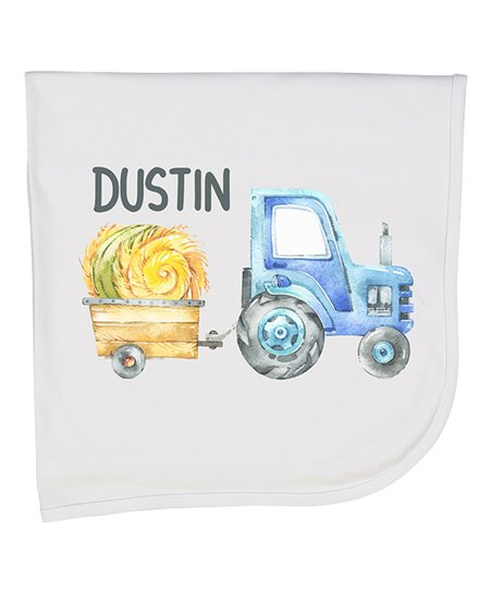 Initial Request White & Blue Tractor Personalized Receiving Blanket