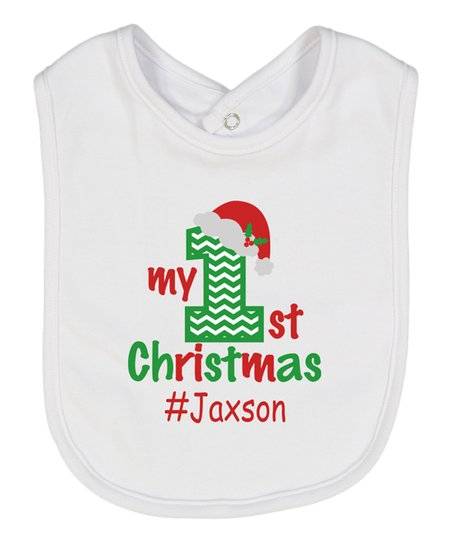 Initial Request White First Christmas Santa Hat Personalized Bib ... ee29b2dc42a